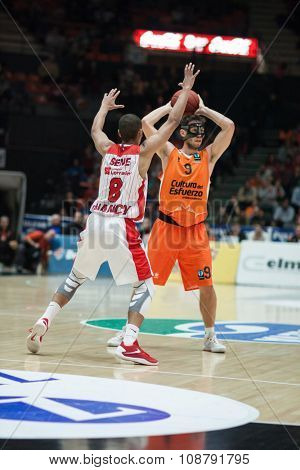 VALENCIA, SPAIN - NOVEMBER 18th: (8) Sene (9) Van Rossom during Eurocup between Valencia Basket Club and Sluc Nancy at Fonteta Stadium on November 18, 2015 in Valencia, Spain