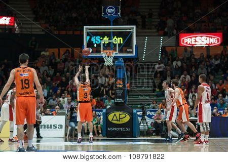 VALENCIA, SPAIN - NOVEMBER 18th: Various players during Eurocup between Valencia Basket Club and Sluc Nancy at Fonteta Stadium on November 18, 2015 in Valencia, Spain