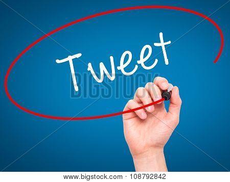 Man Hand writing Tweet with black marker on visual screen.