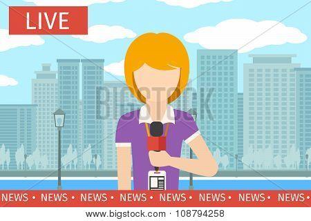 News reporter woman