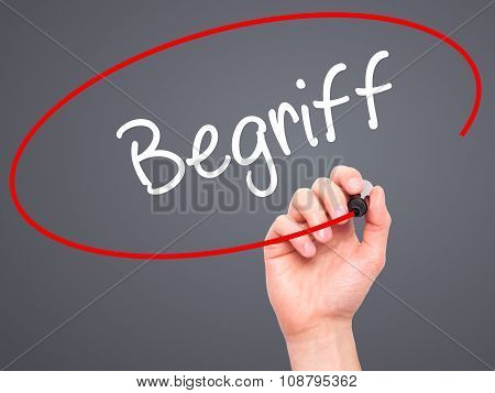 Man Hand writing Begriff (Terms in German) with black marker on visual screen.Background grey
