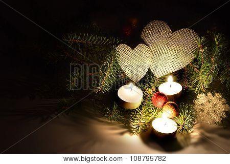 Romantic Composition Festive Illuminated Light Three Candles.