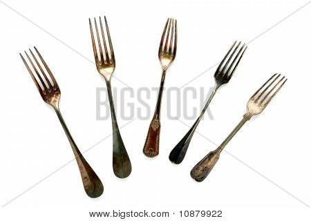 Antique Old Silver Fork Collection