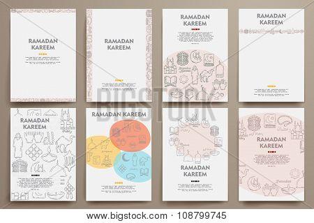Corporate identity vector templates set with doodles ramadan theme