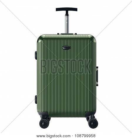 Green luggage for travel, front view