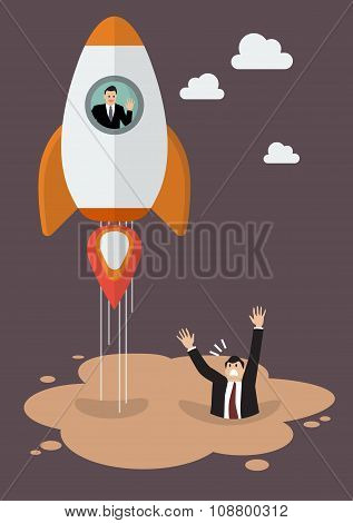 Businessman On A Rocket Get Away From Puddle Of Quicksand