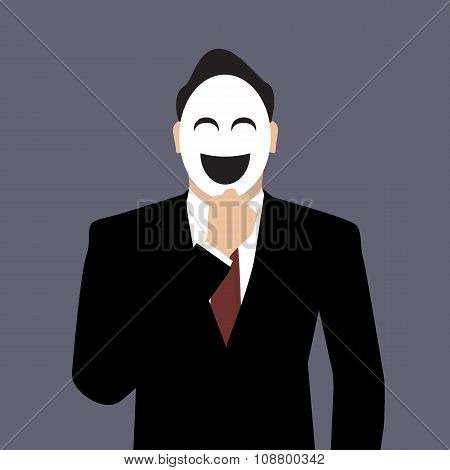 Businessman Wearing A Laughing Mask