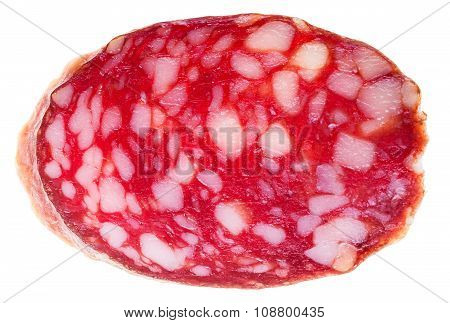 Cut Off Slice Of Smoked Sausage Isolated