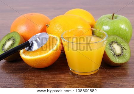 Stethoscope, Fresh Fruits And Juice, Healthy Lifestyles And Nutrition