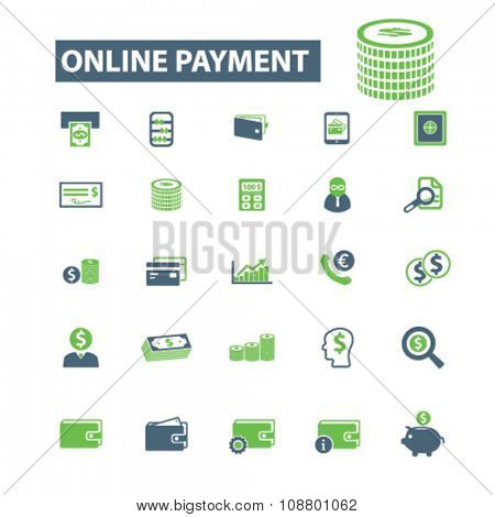 online payment, money, banking  icons, signs vector concept set for infographics, mobile, website, application