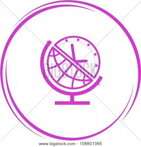 globe and clock. Internet button. Vector icon.