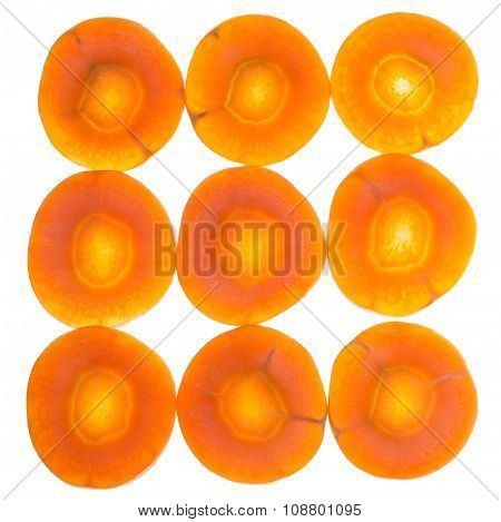 Several Fresh Sliced Carrots Isolated On White