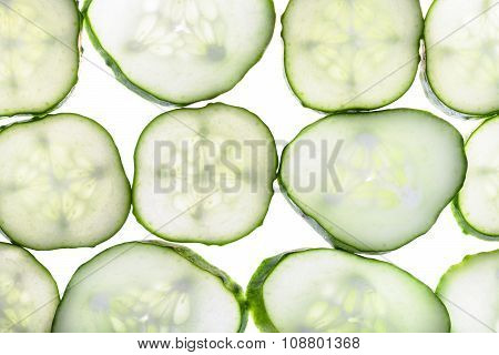 Rows From Slices Of Fresh Cucumber Isolated