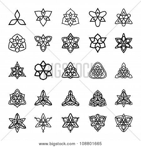 Vector Set Of Black And White Decorative Patterns For Design. Triangle Symmetric Symbols