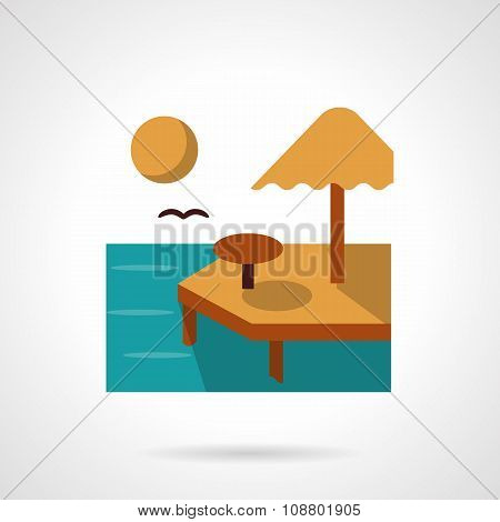 Summer rest flat color vector icon