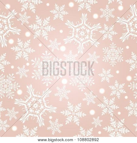 Light Beige Pattern With Snowflakes, Vector