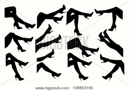 Legs with shoes. Silhouette of female legs.