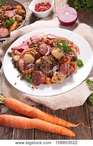 lentils, meat and vegetable