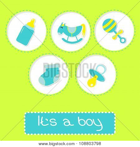 Baby Boy Shower Card With Bottle, Horse, Rattle, Pacifier And So