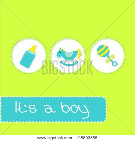 Baby Boy Shower Card With Bottle, Horse, And Pacifier