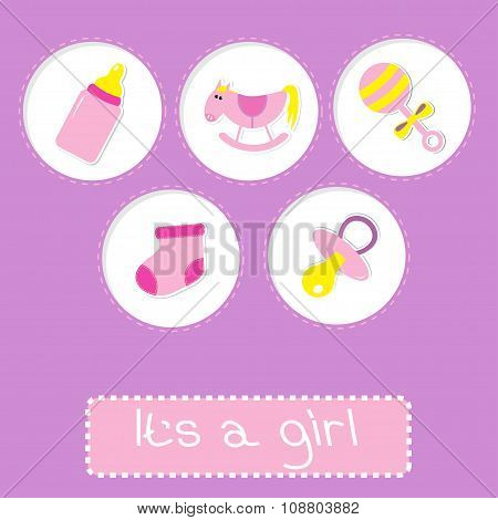 Baby Girl Shower Card With Bottle, Horse, Rattle, Pacifier And S