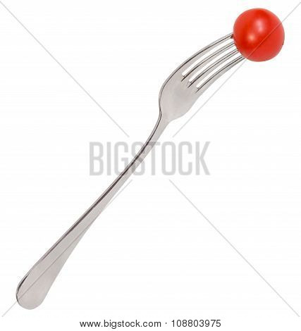 Dinning Fork With One Fresh Red Cherry Tomato