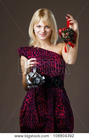 beautiful girl with Christmas decorations