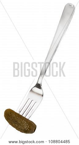 Dinning Fork With Pickled Cucumber Isolated