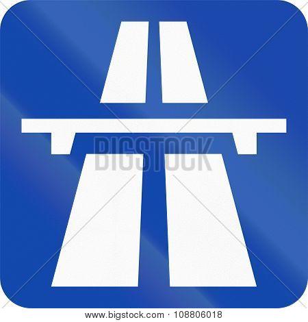 Norwegian Road Sign - Square Motorway Sign