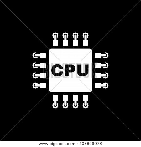 The cpu icon. Microprocessor and processor symbol. Flat