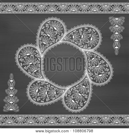Floral paisley background with indian ornament and place for your text. Chalkboard background. Good
