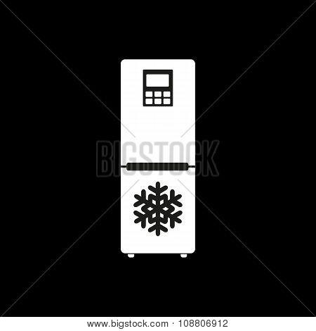 The icebox icon. Fridge and refrigerator symbol. Flat