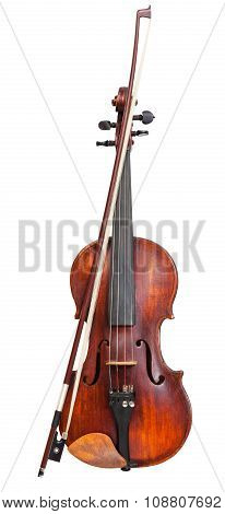 Front View Of Violin With Wooden Chinrest And Bow