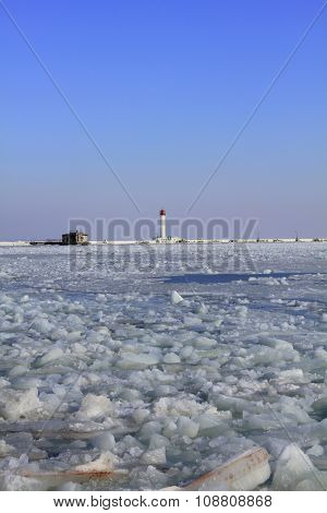 Odessa lighthouse in winter.