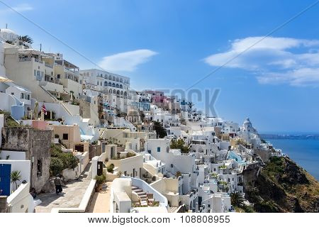 Santorini Island Landscape Of Famous Fira Village, Greece