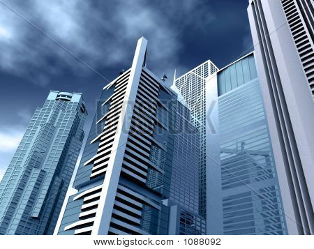 Edificios corporativos en tonos azules
