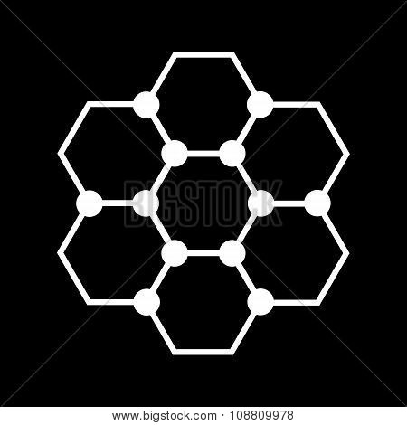 The molecule icon. Atom and chemistry, dna, physics symbol. Flat