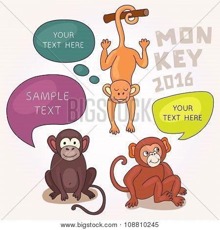 Funny Monkeys With Speech Bubbles.