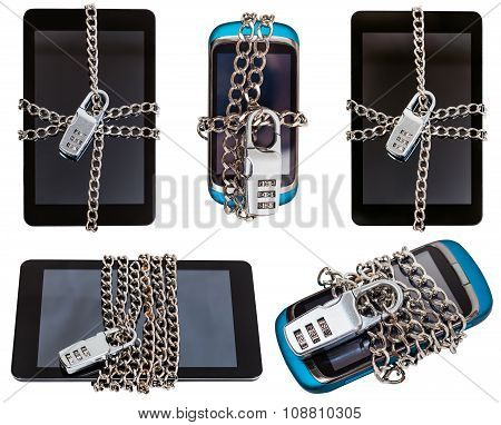 Set Of Mobile Devices Closed By Combination Lock