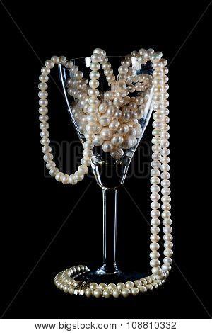 Pearl Ornament In A Glass Wine Glass