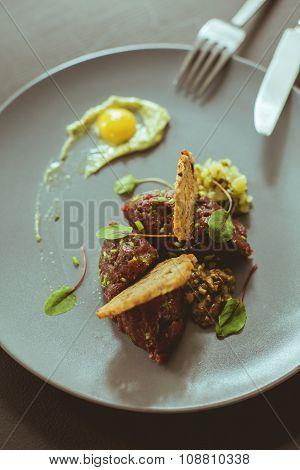 Steak Tartare With Egg Yolk