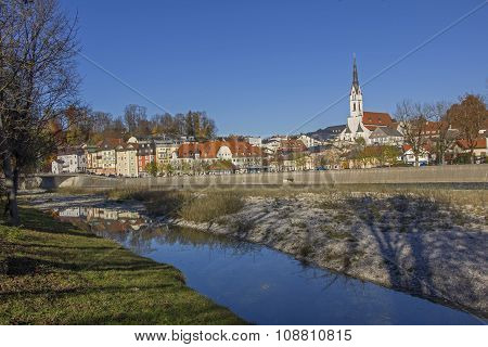 Spa Town Bad Tolz And Isar River In Autumn