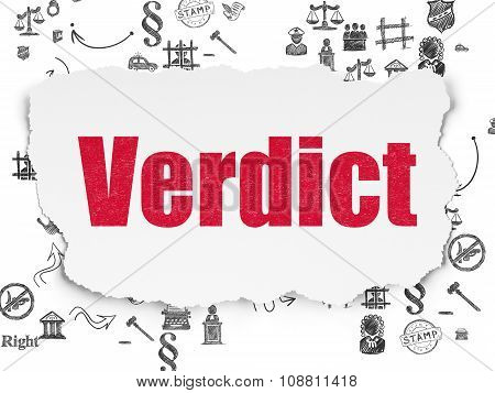 Law concept: Verdict on Torn Paper background
