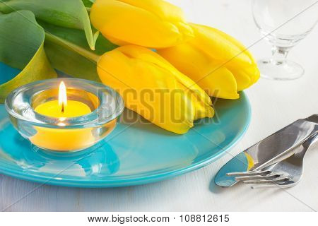 Spring Table Setting With Yellow Tulips