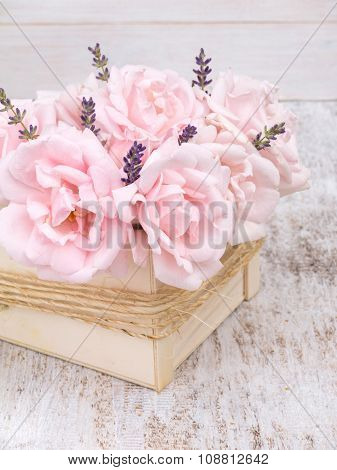 Pale Pink Roses And Lavender Bouquet In The Wooden Box