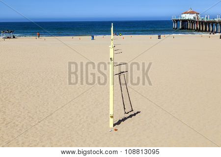 LOS ANGELES, USA - JUNE 27, 2011: empty volleyball field at the sandy beach