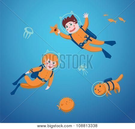 Kids are swimming  underwater