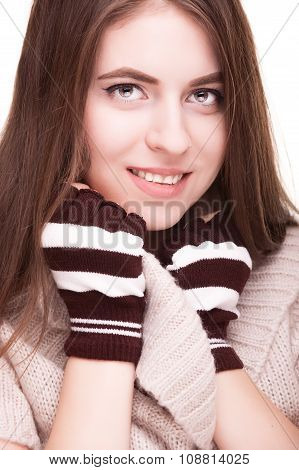 Woman Feeling Cozy In Winter Clothes