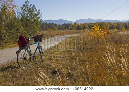 Bike Route Through Isar Floodplain, Autumnal Grassland And Forest