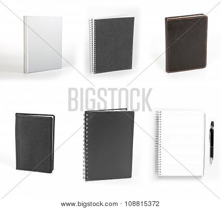 Set Of Notebooks Isolated On White Background.